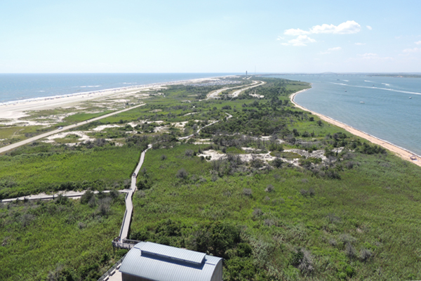 The view from the Fire Island Lighthouse of the Fire Island National Seashore and Robert Moses State Park in New York image: Jennifer Nitzky