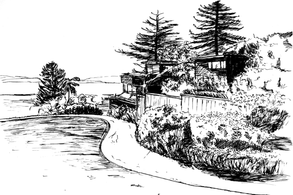 Northwest-facing view, Greenwood Common, Berkeley, CA image: drawn by Da Hyi Ku
