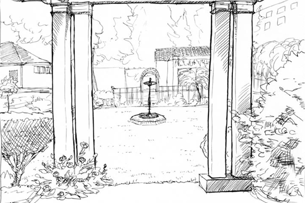 View looking north and through the front pergola of the birdbath and rear pergola, Meyers House and Garden, Alameda, CA image: drawn by Mollie Sitzer