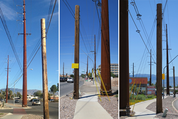 "Figure 10: Examples of ""zombie"" poles in central Tucson. image: Ellen Alster"
