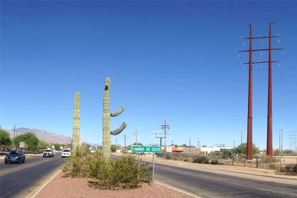 Figure 2: Ina Road, just east of the Interstate 10 exit. Twin poles on the right are replacing the older lattice structures. image: Ellen Alster