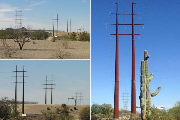Figure 4: Twin poles are replacing the older lattice structures (in background) across southern Arizona. image: Ellen Alster