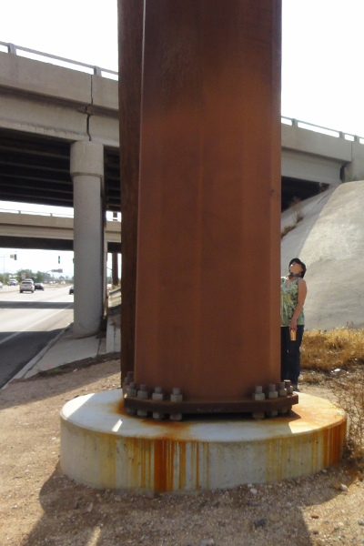 Figure 9: Weathered steel transmission pole at Interstate 10 and Valencia, Tucson, AZ. image: Ellen Alster