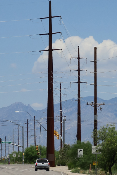 Figure 12: Alvernon Way and Valencia Road intersection, Tucson, AZ. View to Catalina Mountains. image: Ellen Alster