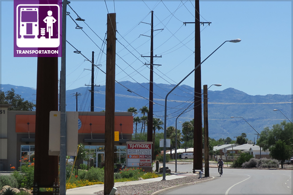 Figure 1: Broadway Boulevard and Wilmot Road in a busy commercial area of central Tucson, AZ. View to Rincon Mountains. image: Ellen Alster