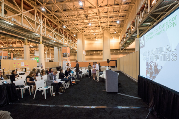 The Children's Outdoor Environments PPN gets ready at City Park Stage. Lolly Tai, FASLA, Professor of Landscape Architecture at Temple University, presented on the topic of Children's Gardens: Design Features and Goals. image: Event Photography of North America Corporation (EPNAC)