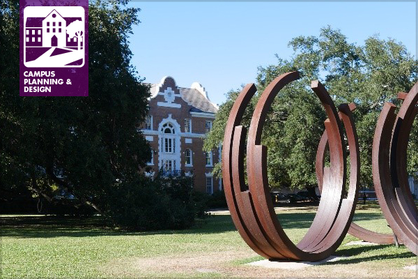 Arcs in Disorder by Bernar Venet on the campus of Tulane University in New Orleans image: Laura Tenny