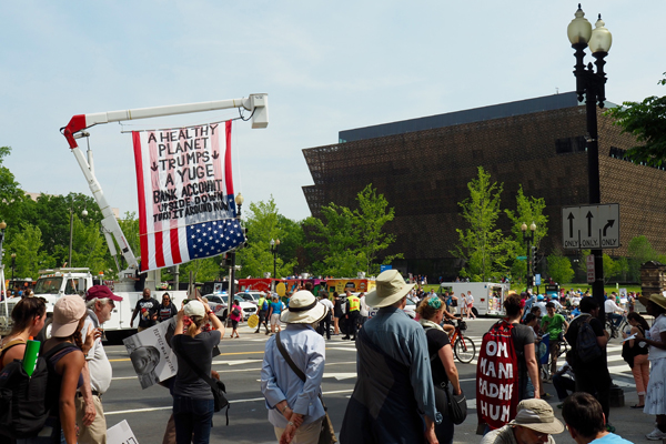 Marchers by the National Museum of African American History and Culture / image: Alexandra Hay