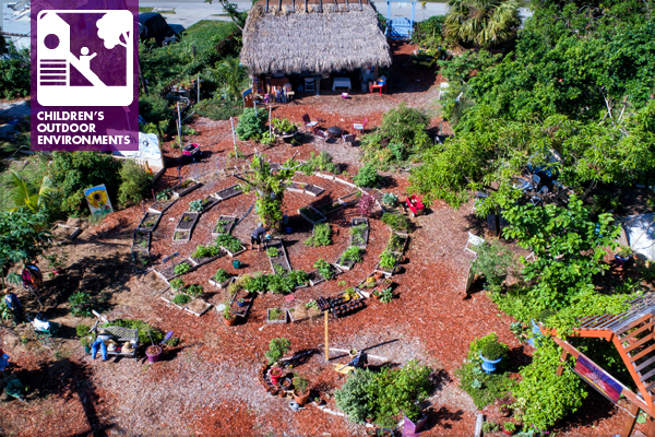 Aerial view of the children's garden
