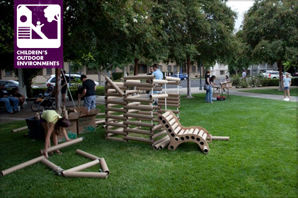 Children used left-over paper tubes, rope, and other materials to design chairs, cabins, and other cool things during the Modesto Architecture Festival