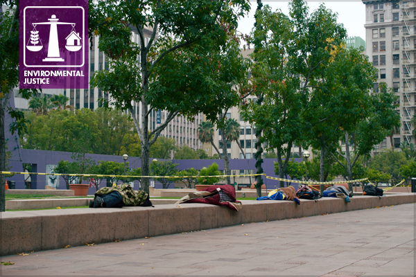 Persons living unhoused in the former Pershing Square, Los Angeles, 2013