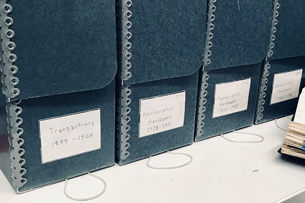 ASLA publications stored in Hollinger-style archival document boxes