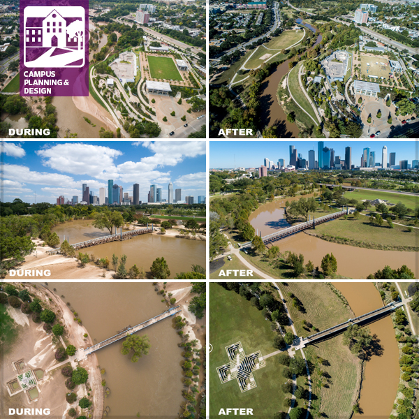 Aerial photos of Buffalo Bayou Park in Houston