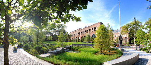 Shoemaker Green at the University of Pennsylvania, designed by Andropogon Associates with stormwater engineering by Meliora Design. Photo credit Barrett Doherty