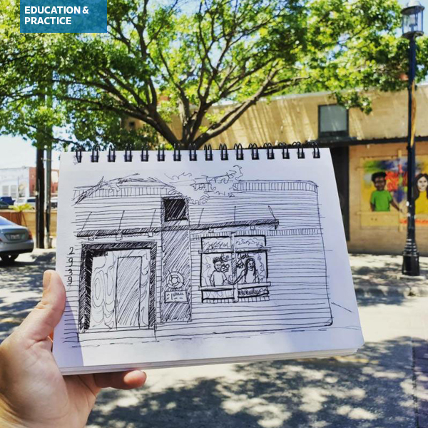Sketch of street art in Deep Ellum, Dallas