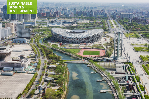 Aerial view of National Olympic Stadium, Beijing
